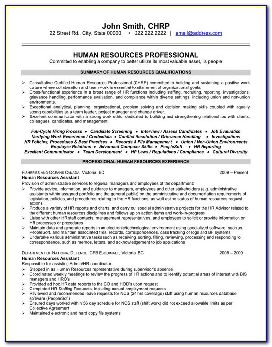 Hr Resume Format Free Download