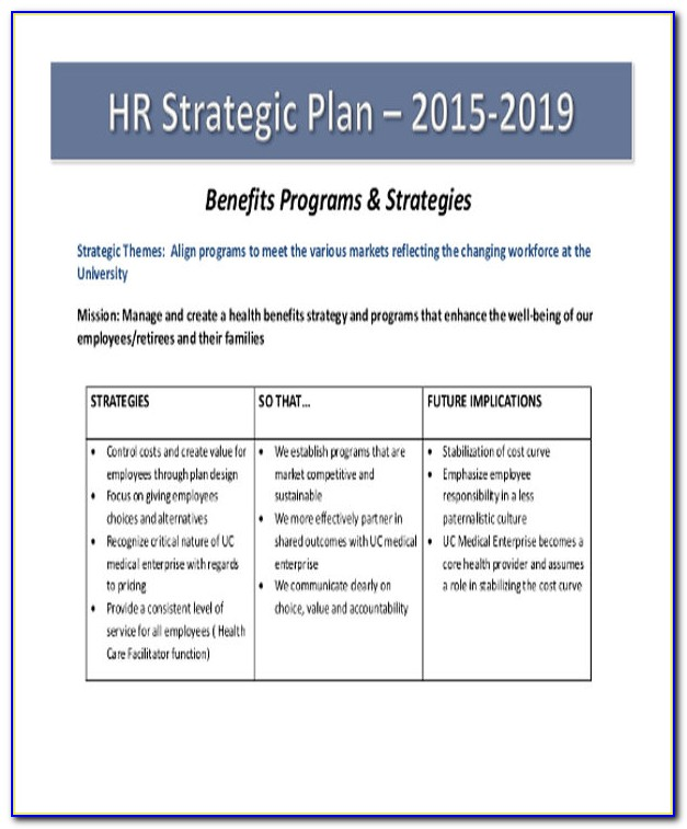 Hr Strategy Plan Example