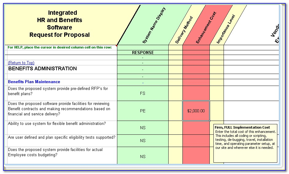 Hris Request For Proposal Template