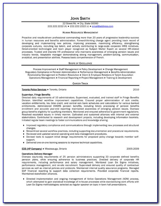Human Resources Resume Template Free