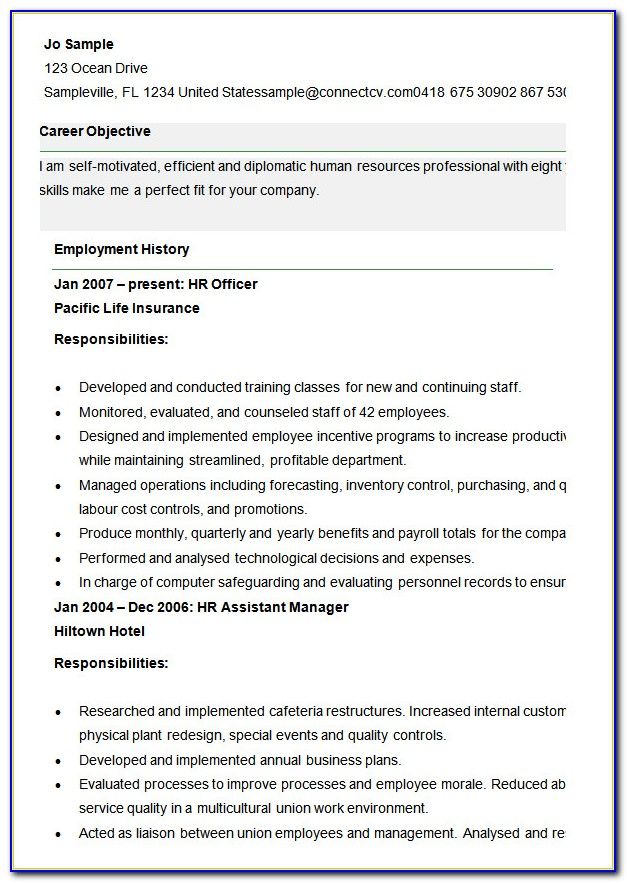 Human Resources Resume Templates Word