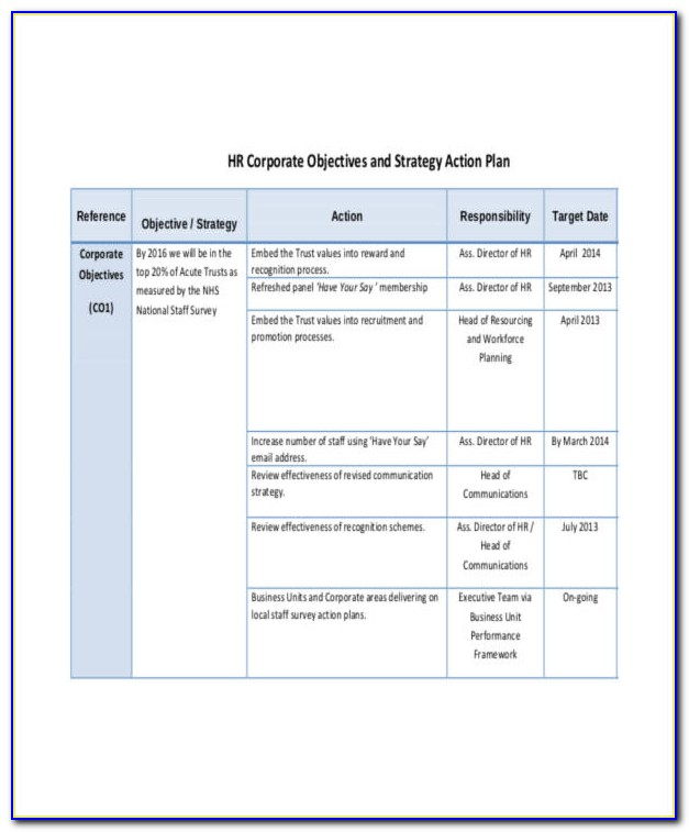 Human Resources Strategy Plan Template