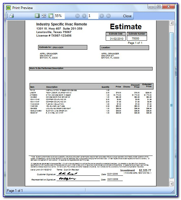 Hvac Quote Template Pdf