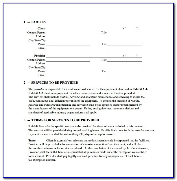 Hvac Service Contract Template Pdf