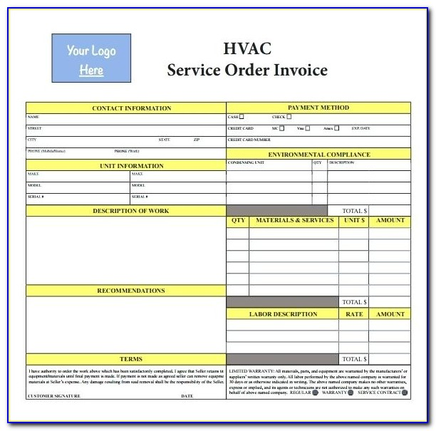 Hvac Service Forms Templates