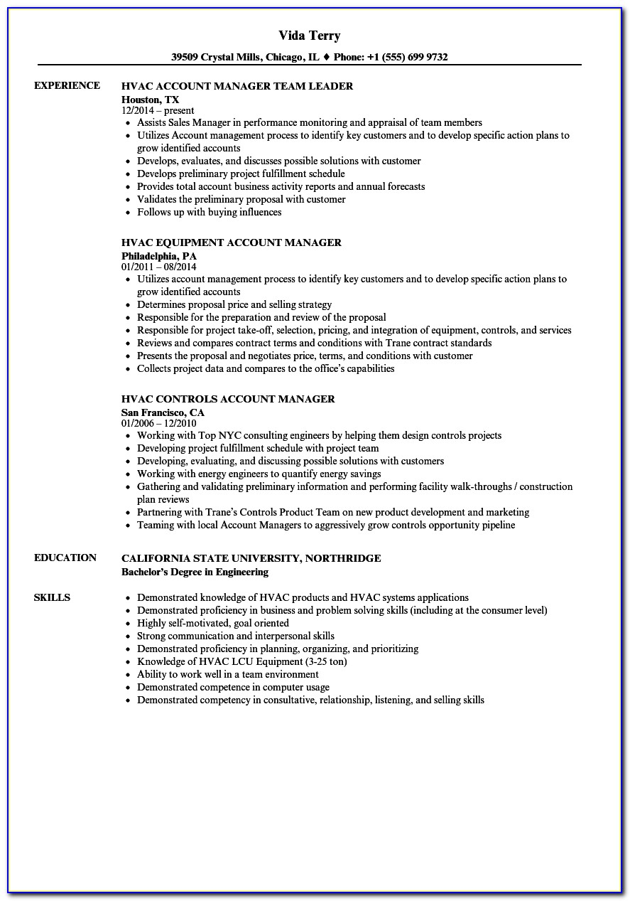 Hvac Service Manager Resume Example
