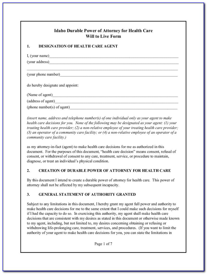 Idaho Limited Power Of Attorney Form