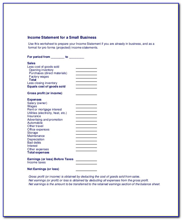 Income Statement For Small Business Template