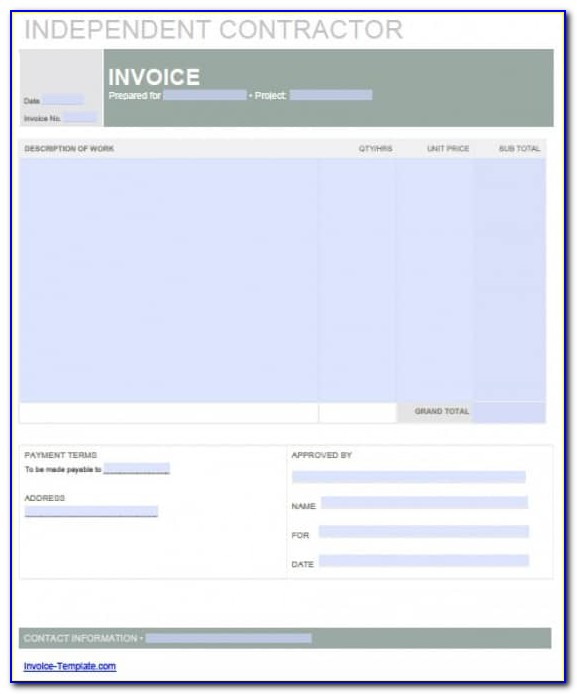 Independent Contractor Invoice Template Nz