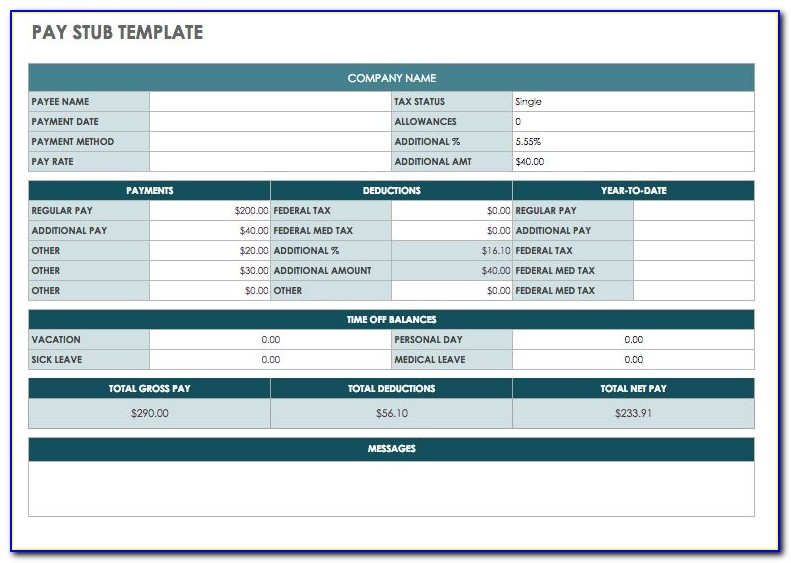 Independent Contractor Pay Stub Template Excel