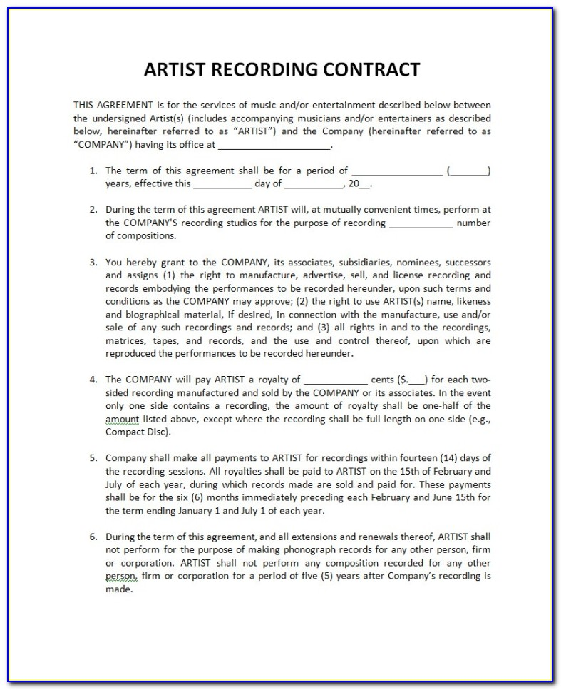 Independent Record Label Contract Template