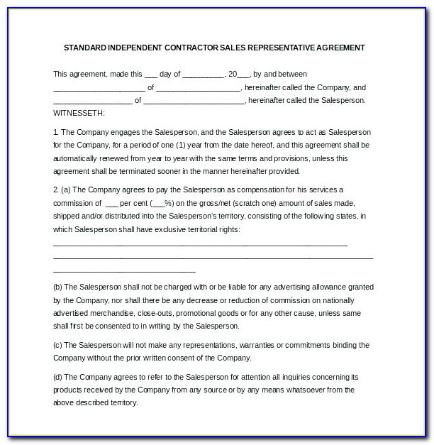 Independent Sales Representative Contract Template