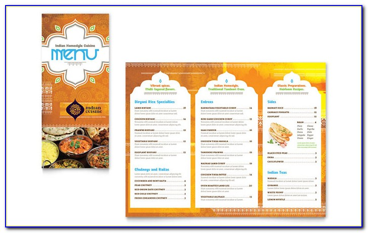 Indian Restaurant Menu Template Free Download