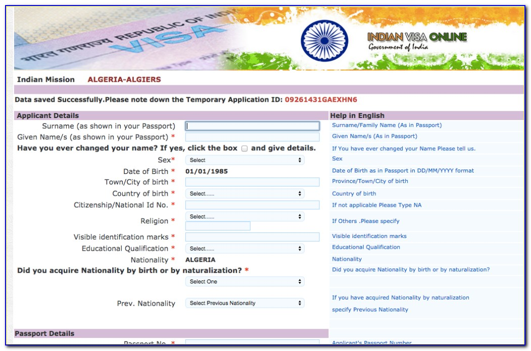 Indian Tourist Visa Form For Bangladeshi