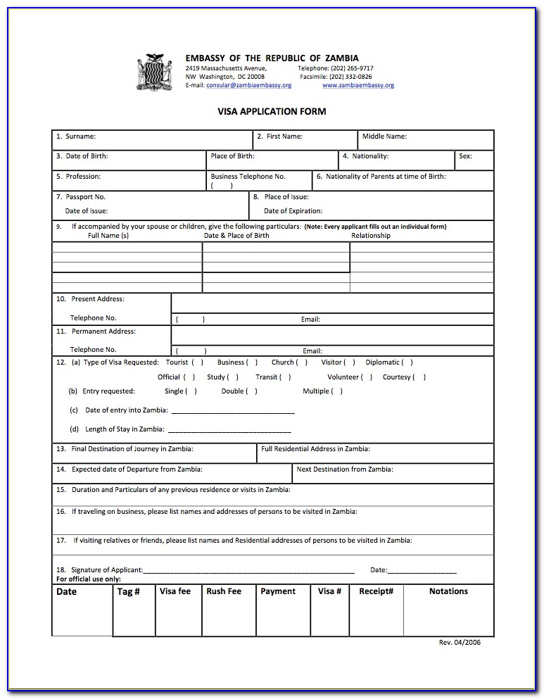 Indian Visa Form Us Citizen