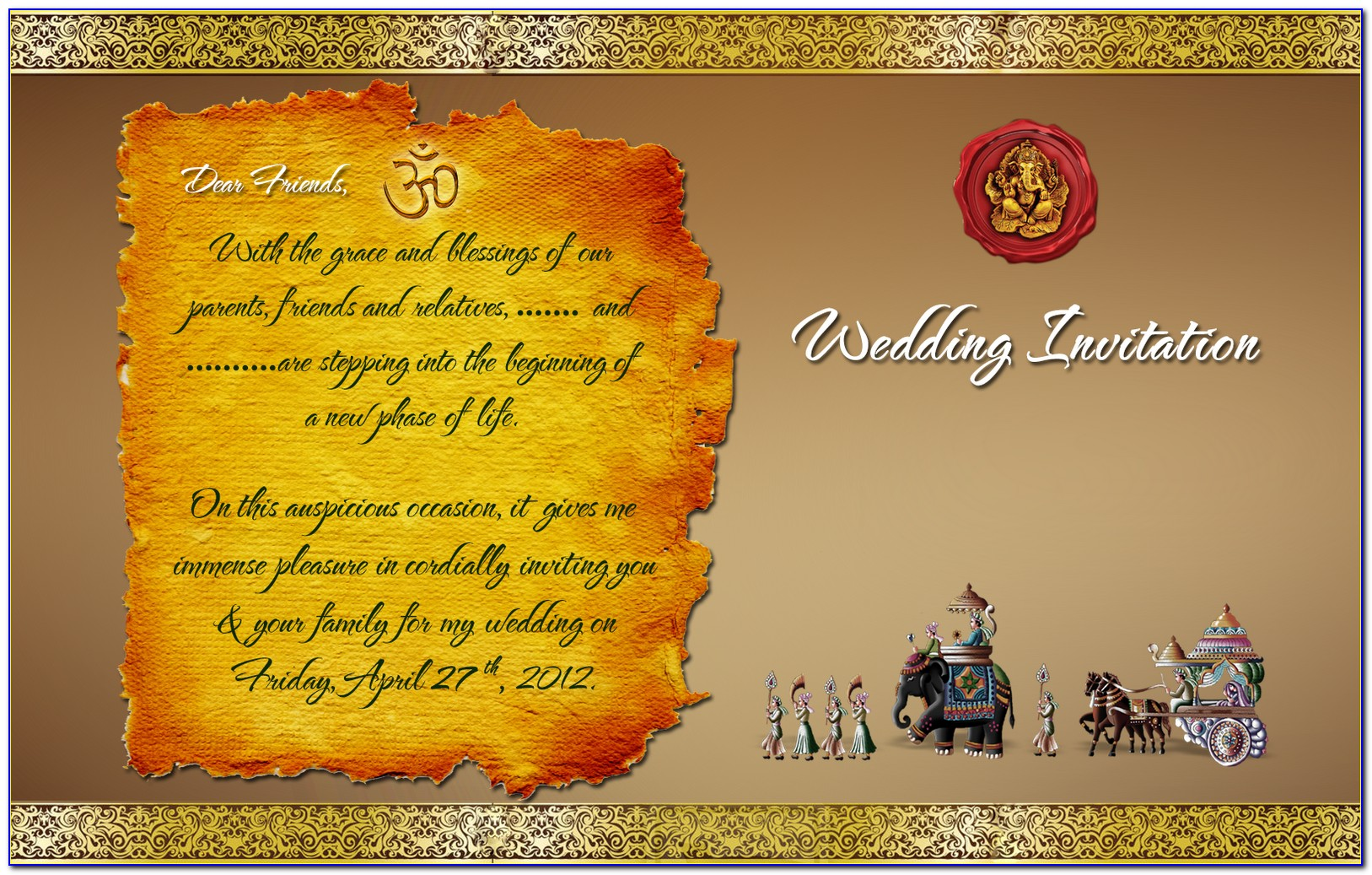 Indian Wedding Card Design Templates Free Download