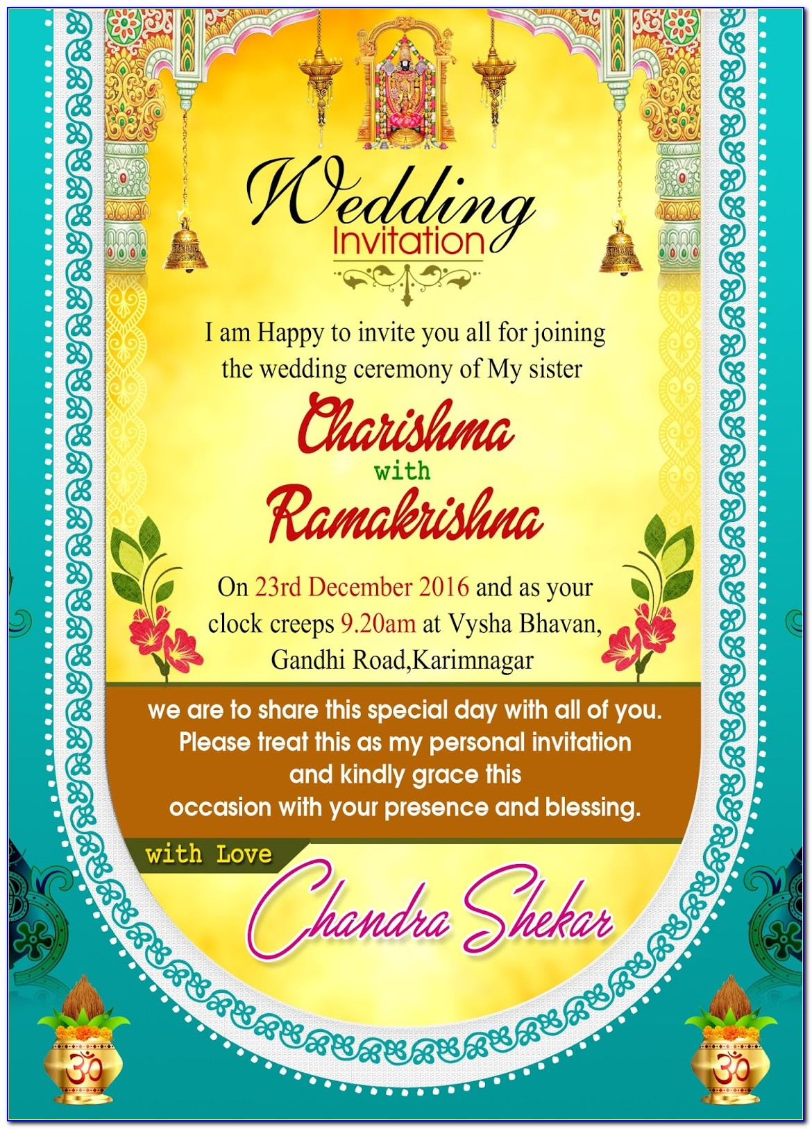 Indian Wedding Invitation Card Design Templates