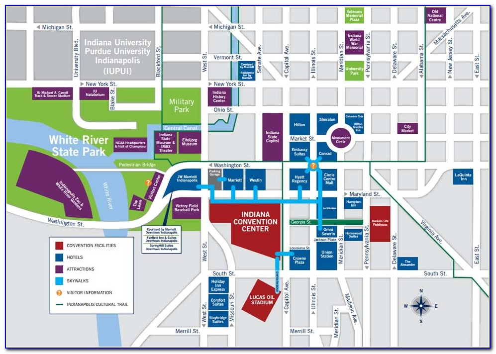 Indianapolis Hotels Downtown Map