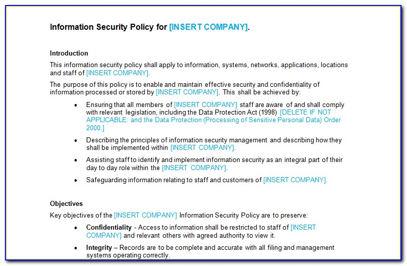 Infosec Policy Example