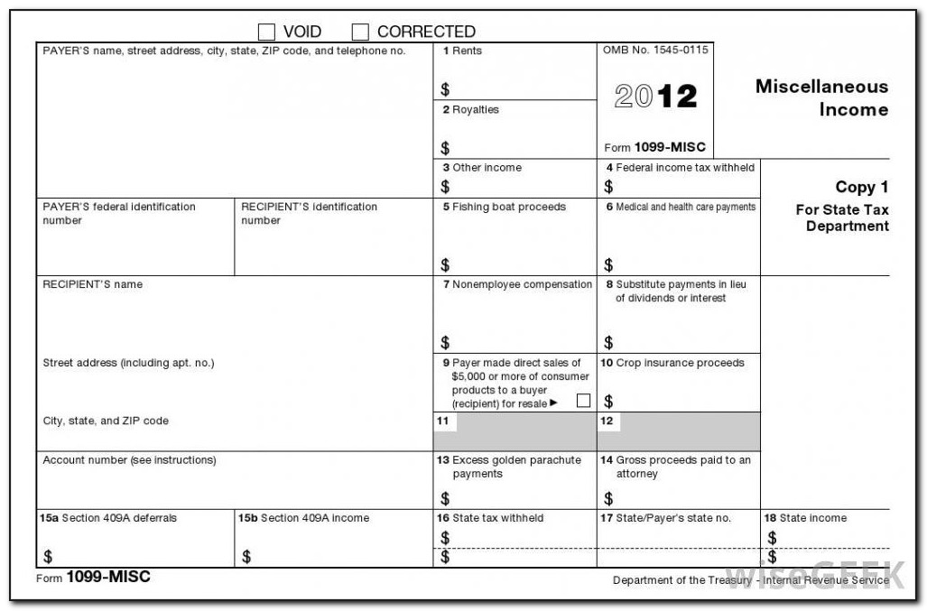 Instructions For Form 1099 Misc Box 3. Other Income