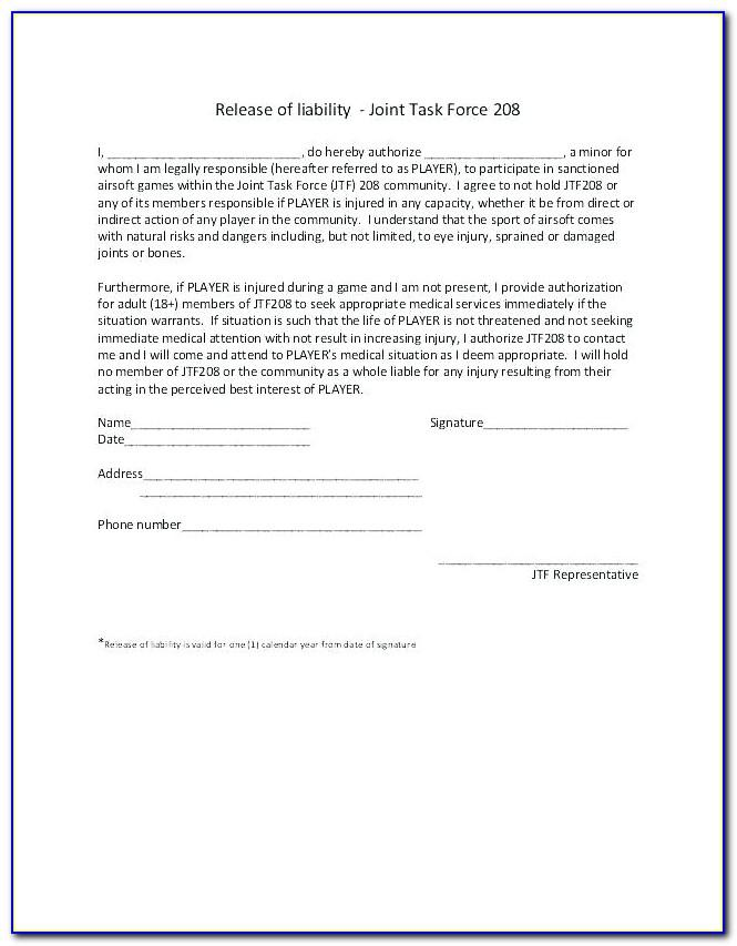 Insurance Waiver Document