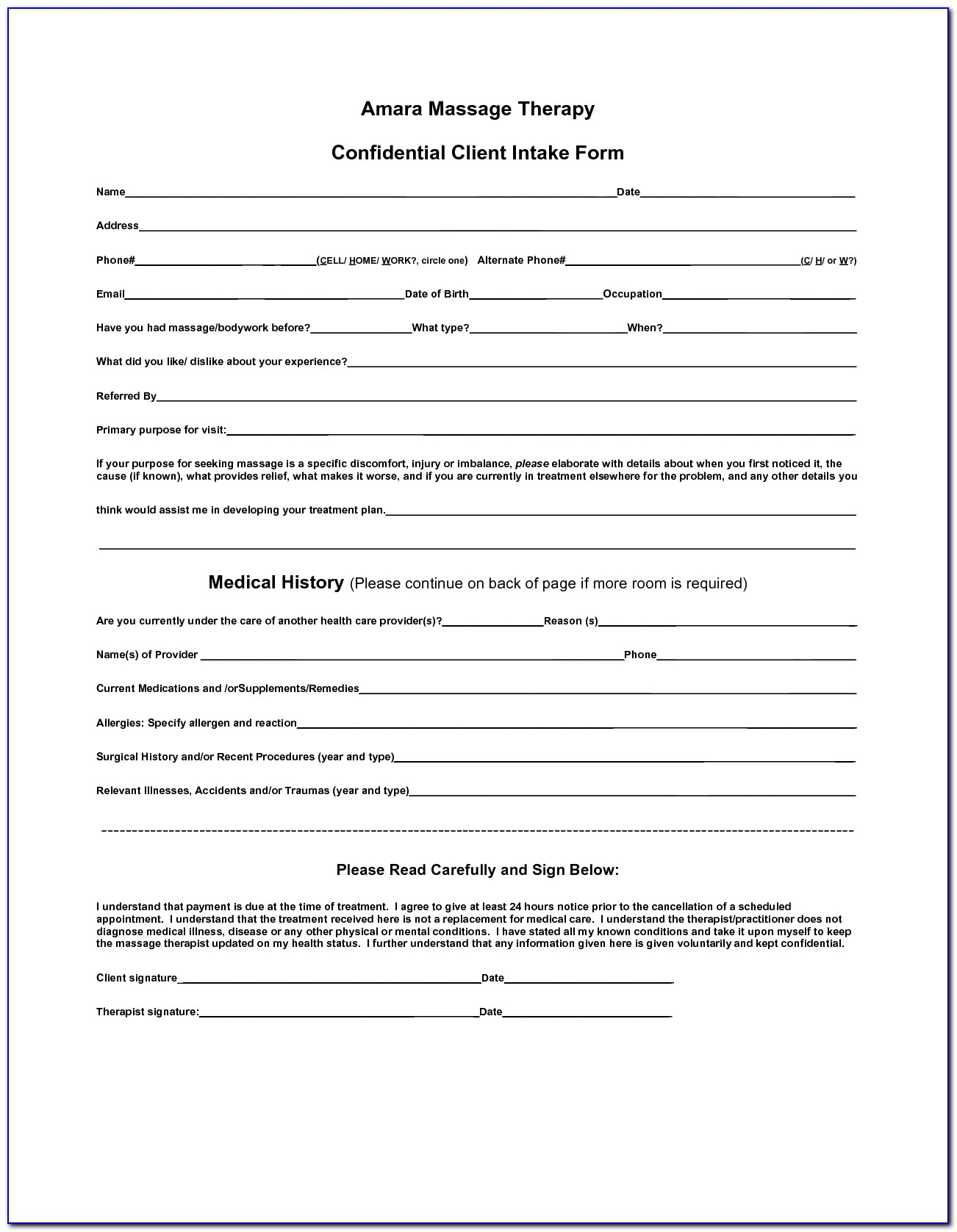 Intake Form Massage Therapy Template