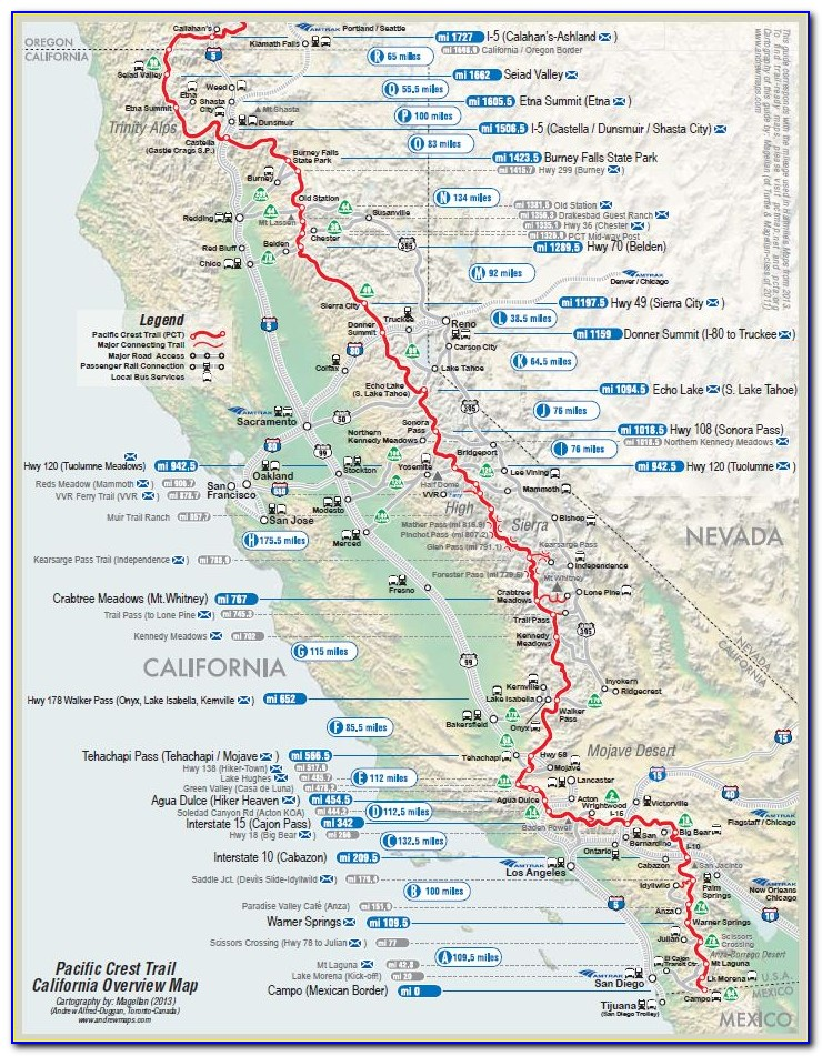 Interactive Map Of The Pacific Crest Trail