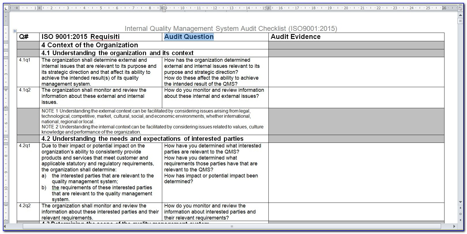 Internal Audit Checklist Template Iso 17025