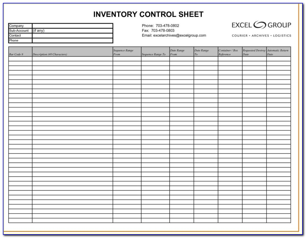 Inventory Control Spreadsheet Template Free