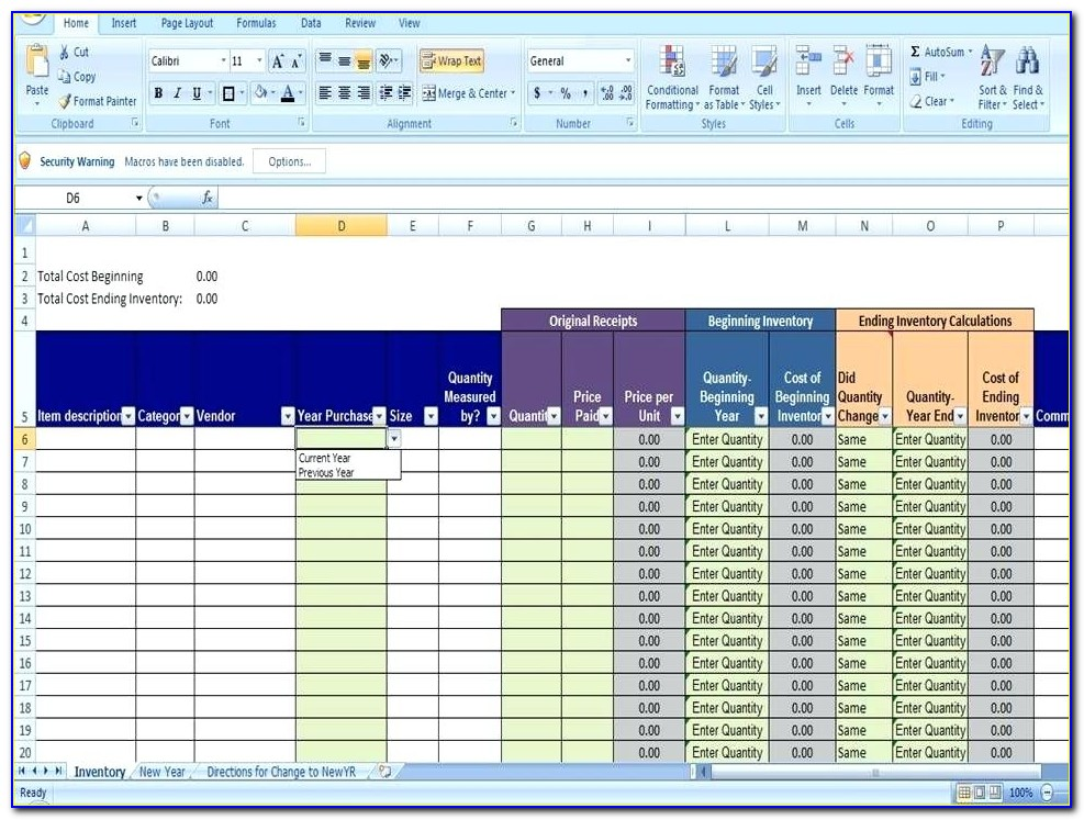 Inventory Management System Excel Template