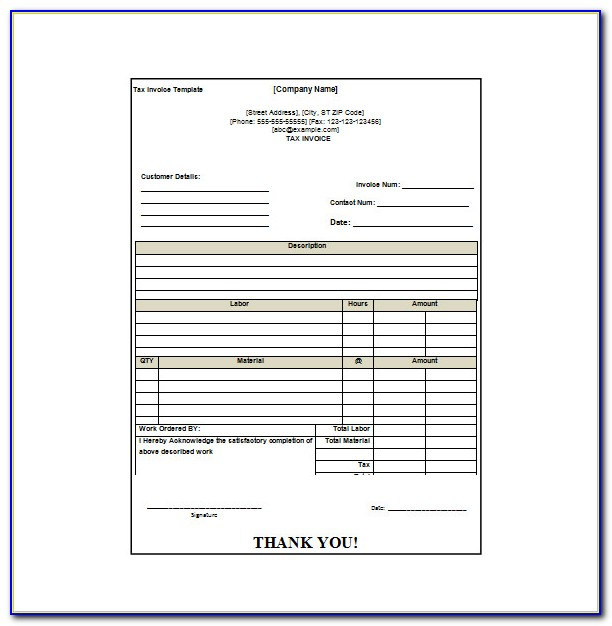 Invoice Receipt Format In Word