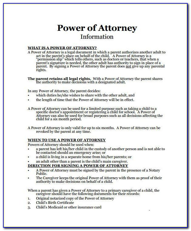 Irrevocable Specific Power Of Attorney Form
