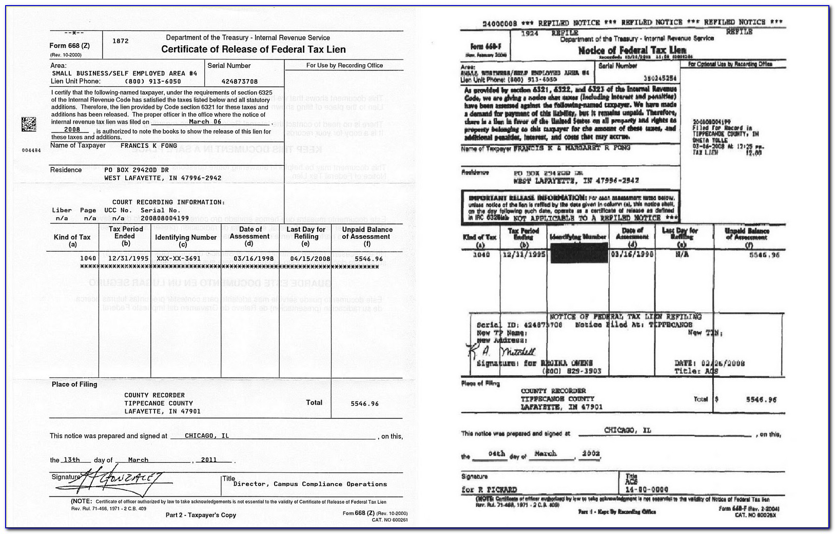 Irs Certificate Of Release Of Federal Tax Lien Form 668 Z