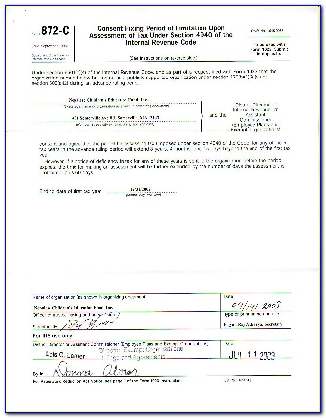 Irs Form 1023 Application For 501c3 Exemption