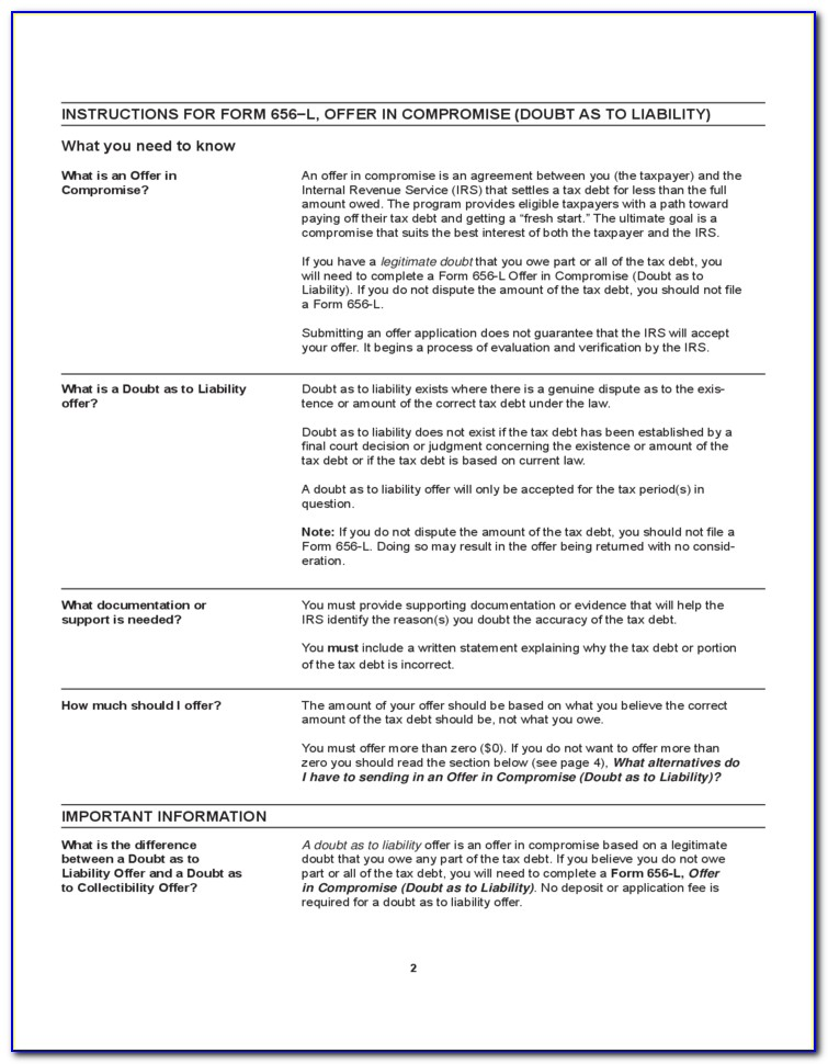 Irs Form 656 Offer In Compromise