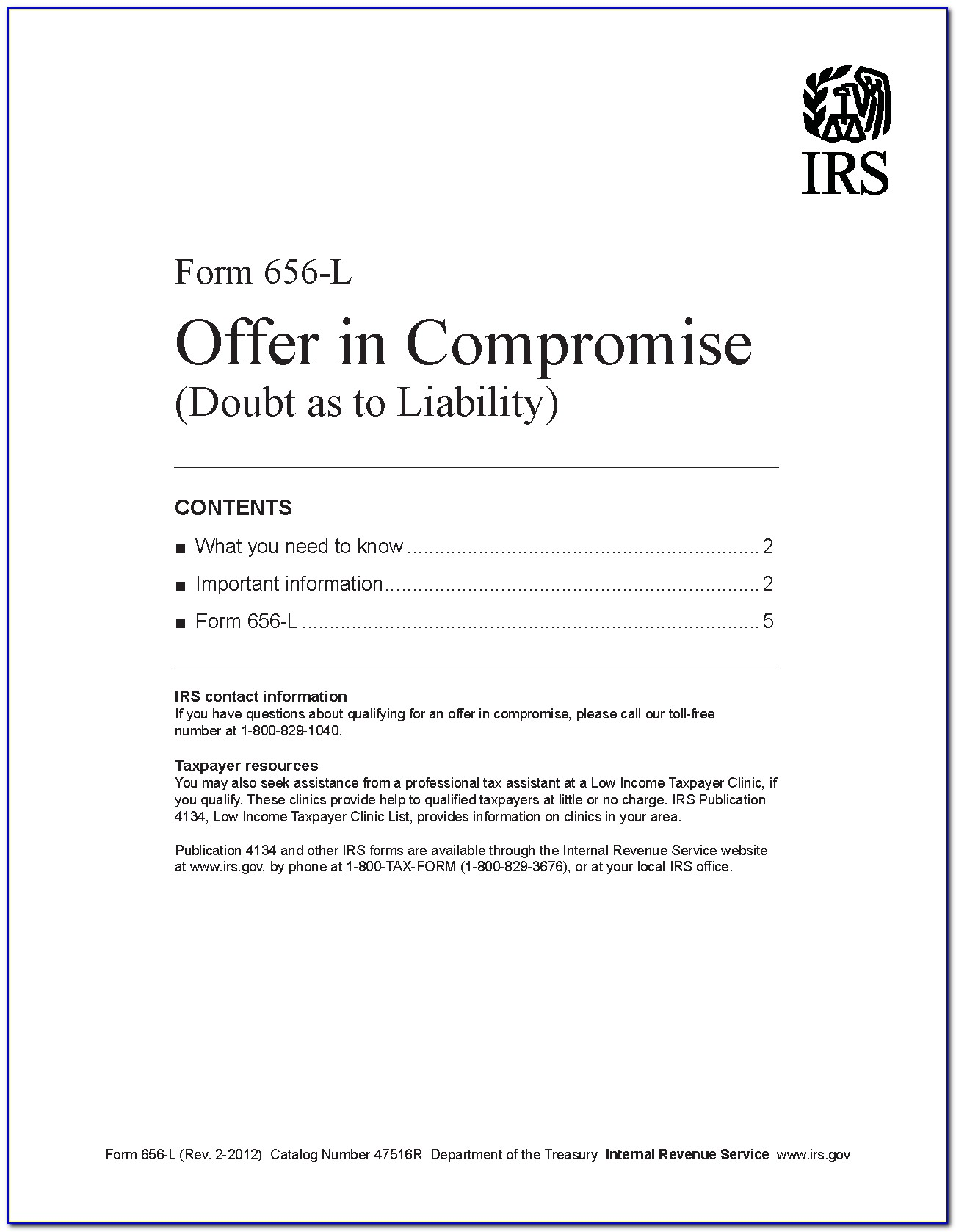 Irs Offer In Compromise Forms