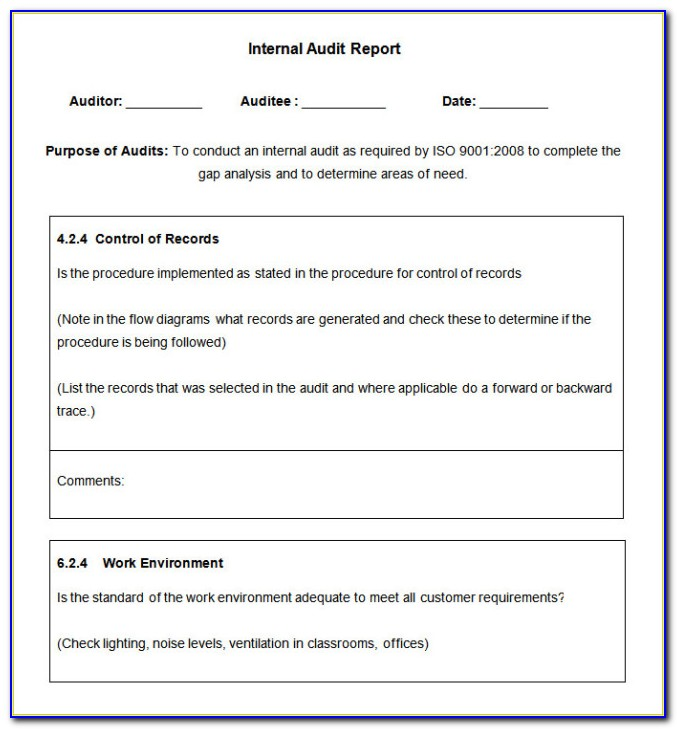 Iso 17025 Internal Audit Report Template