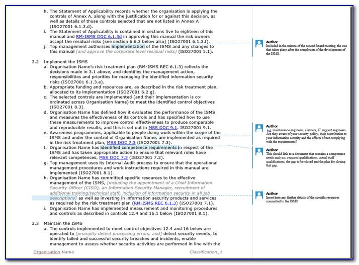 Iso 27001 Documentation Templates Free Download