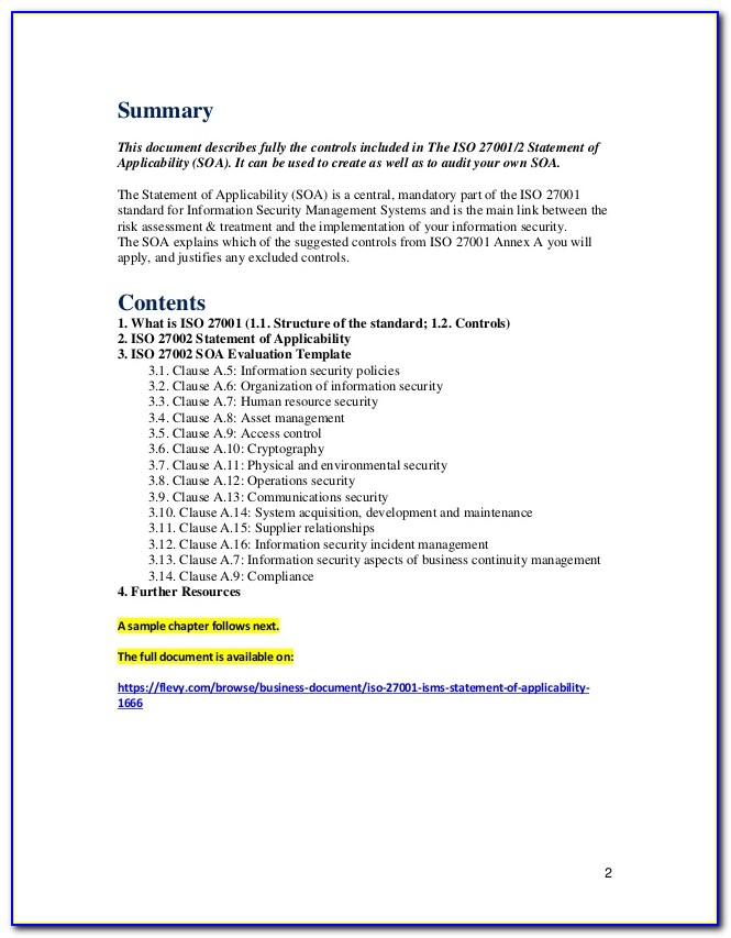 Iso 27001 Template Download
