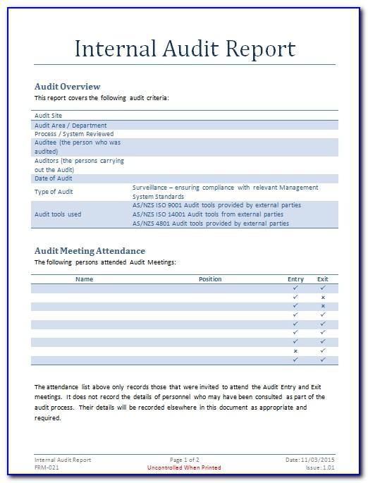 Iso 9000 Internal Audit Report Template