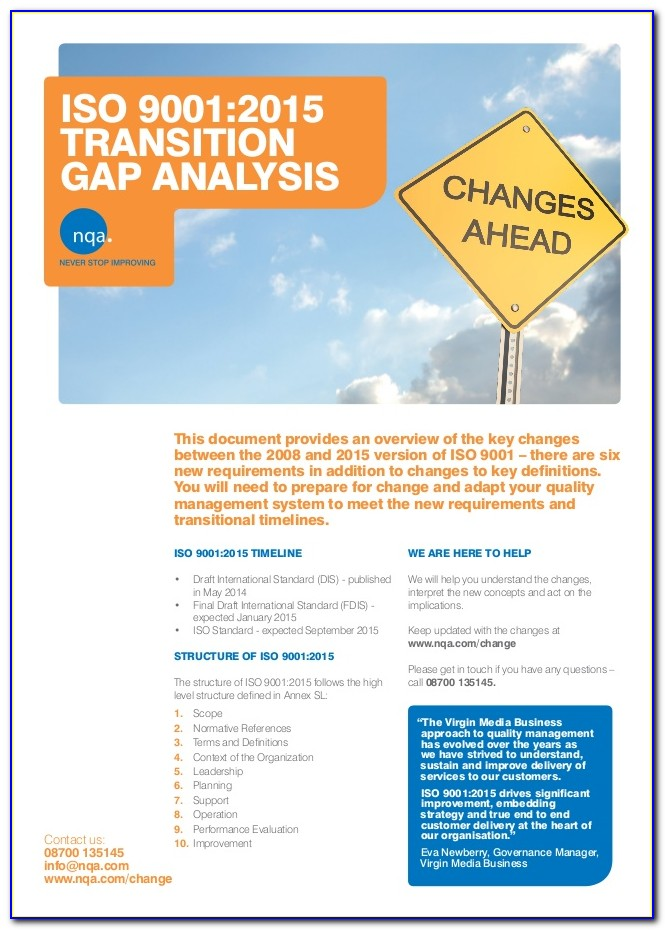 Iso 9001 Gap Analysis Example