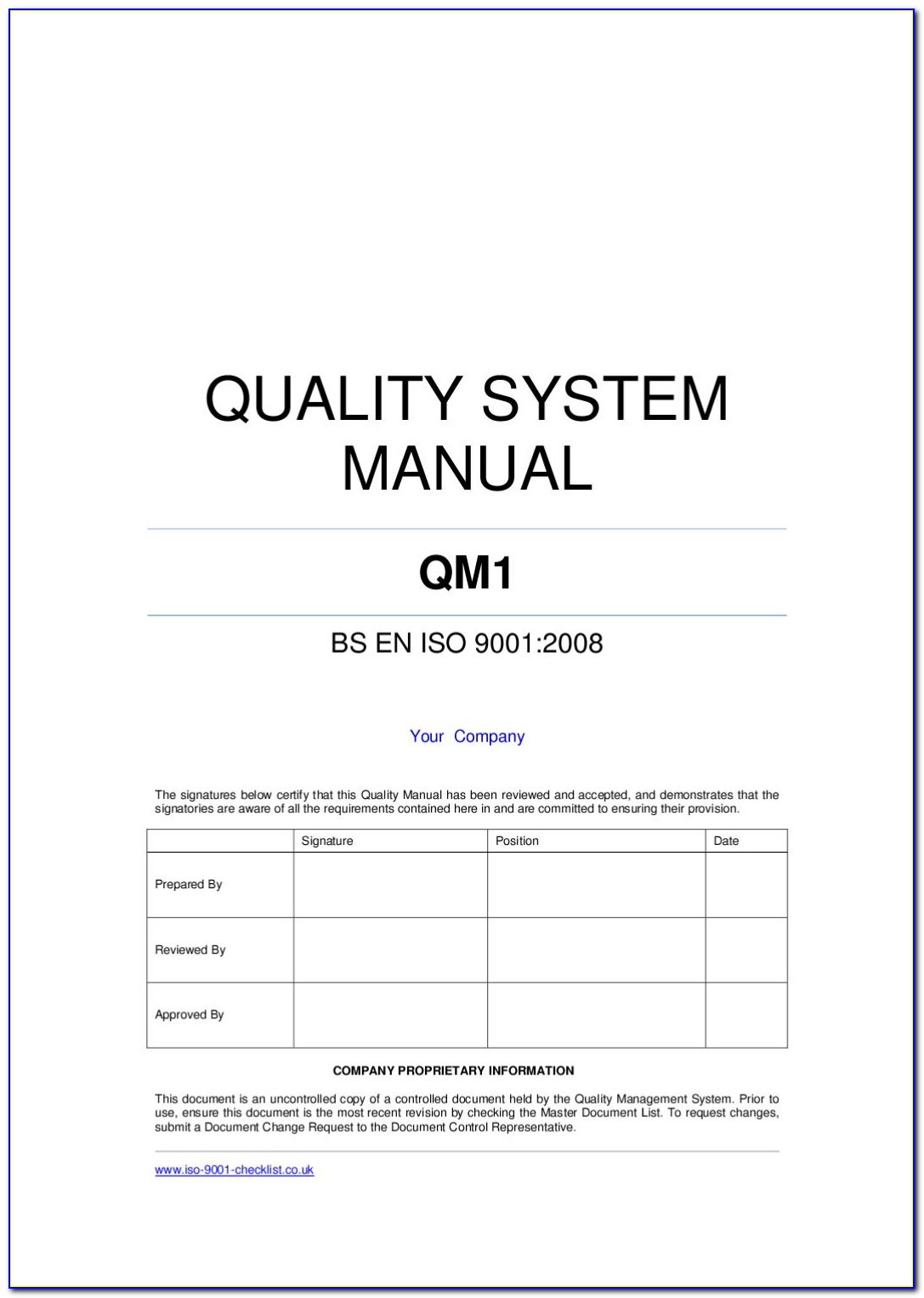 Iso 9001 Quality Manual Template Free Download