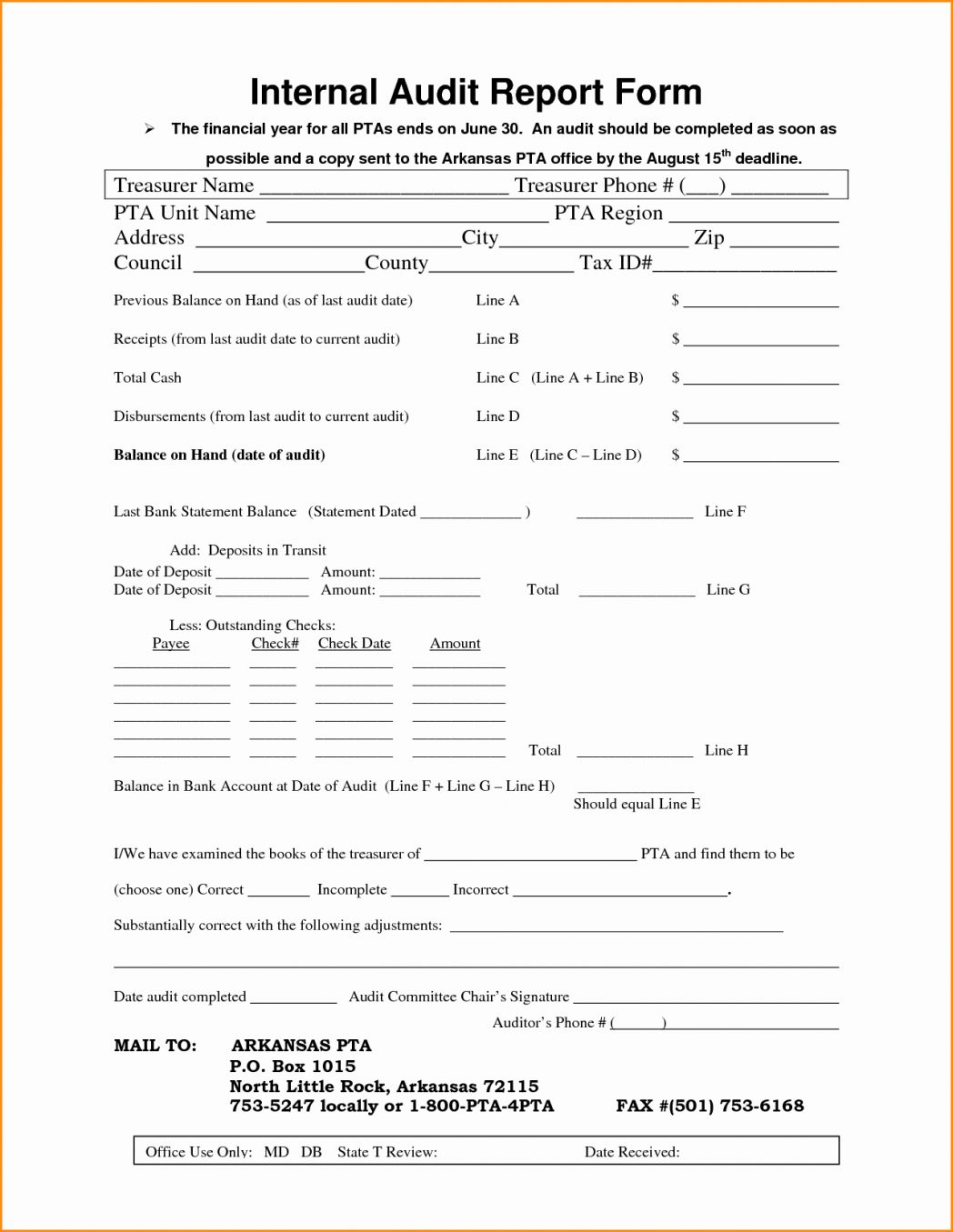 Iso Internal Audit Report Form