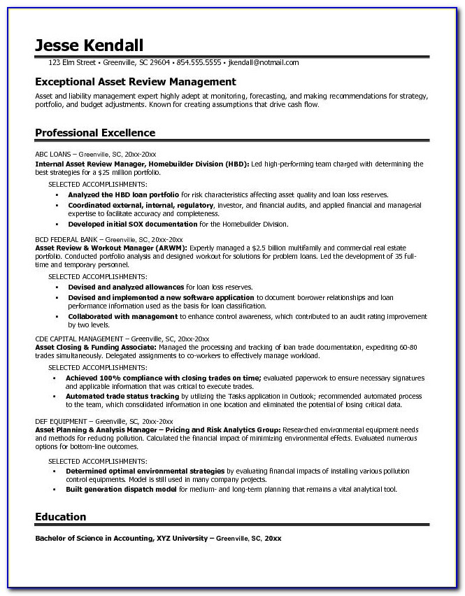 Free Asset Review Manager Resume Example Asset Management Resume Sample Asset Management Resume Sample