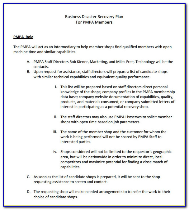 It Disaster Recovery Plan Template Doc
