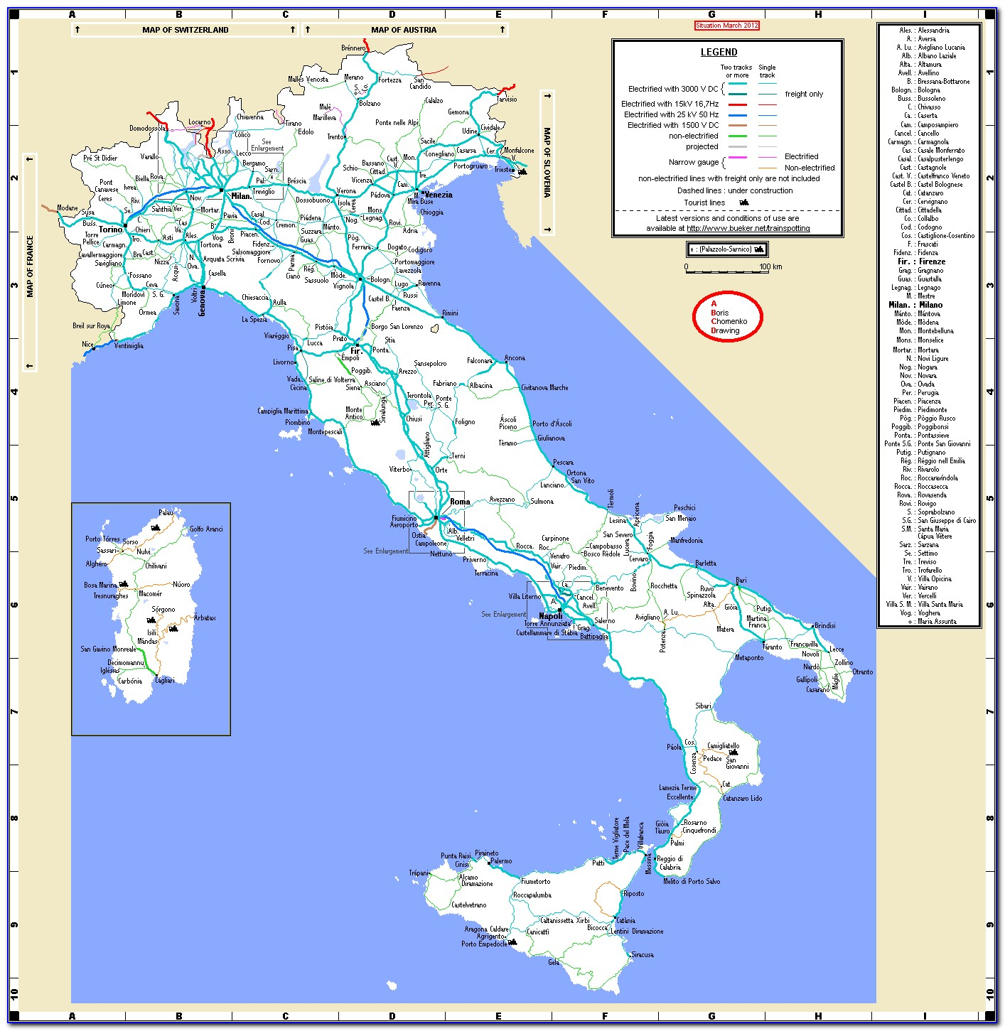Italy Railway Map