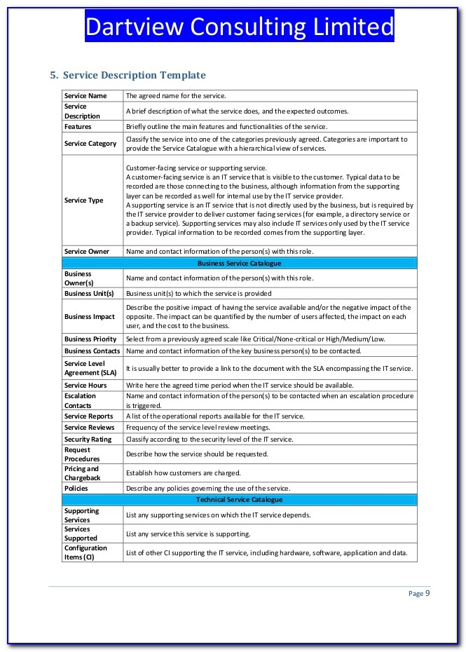 Itil Service Catalog Template Excel