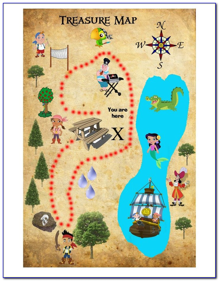 Jake And The Neverland Pirate Treasure Map Printable Free