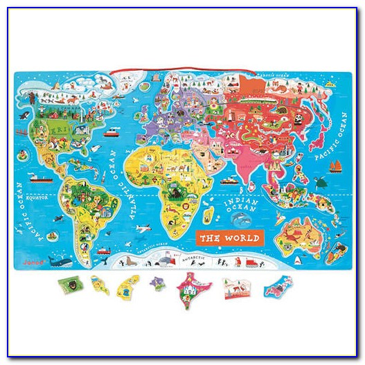 Janod Magnetic World Map Wooden Puzzle