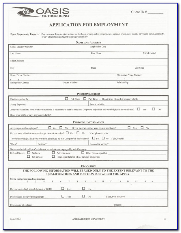 Job Application Form For Taco Bell